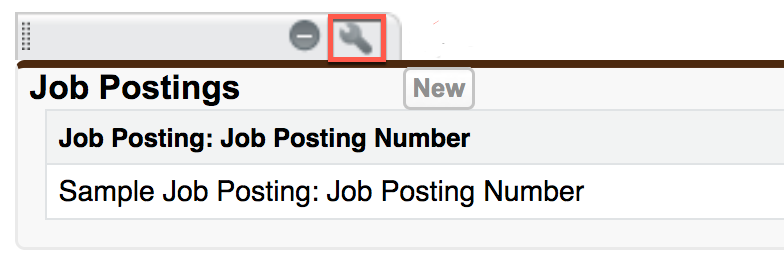 Job Postings related list in the Position page layout menu, showing the wrench icon