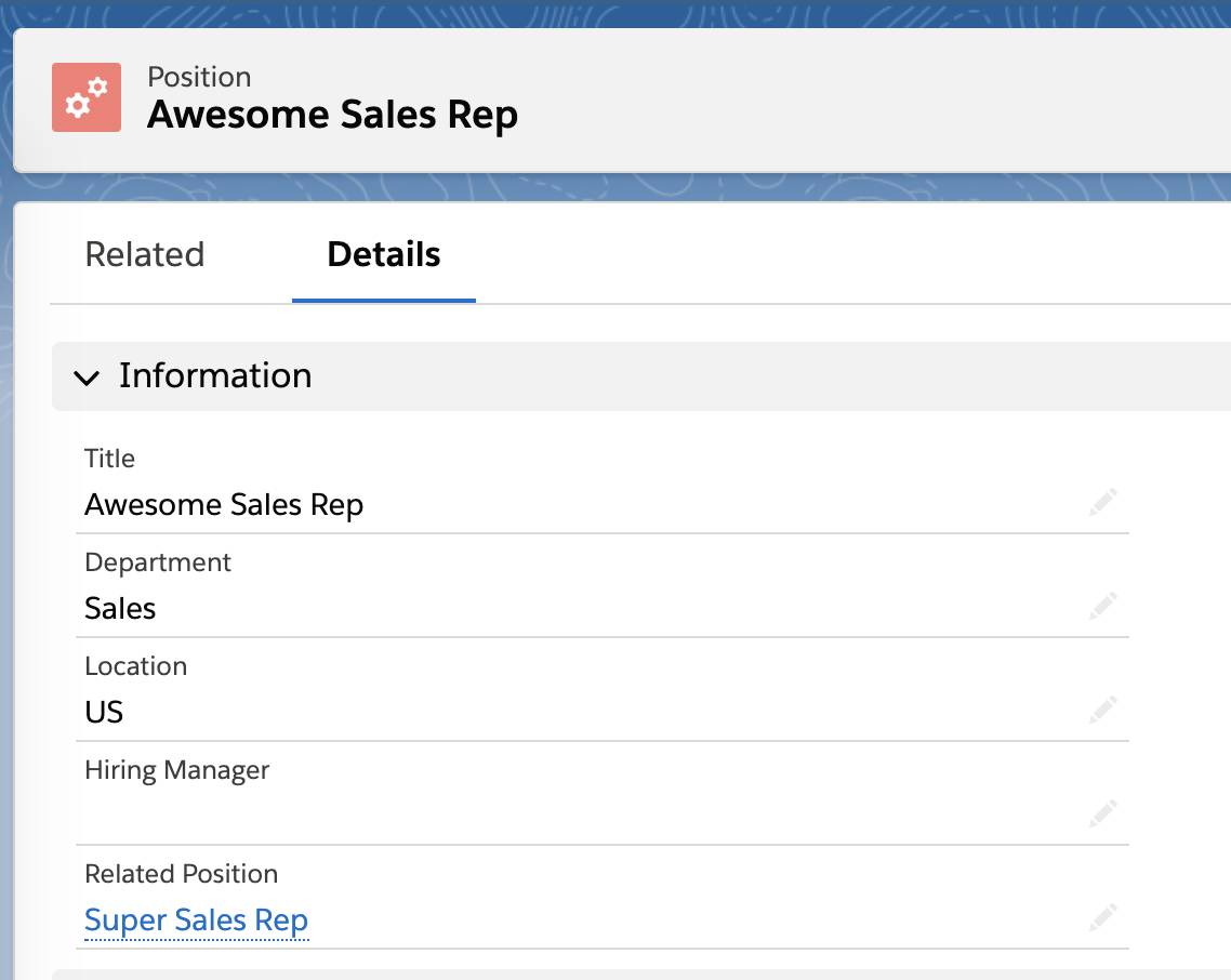 Page Awesome Sales Rep (Commercial hors-pair) où Super Sales Rep (Commercial d'exception) apparaît sous Related Position (Poste associé)