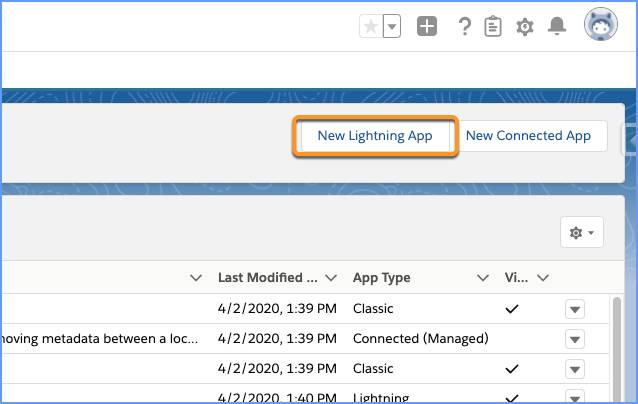 New Lightning App button highlighted in App Manager.