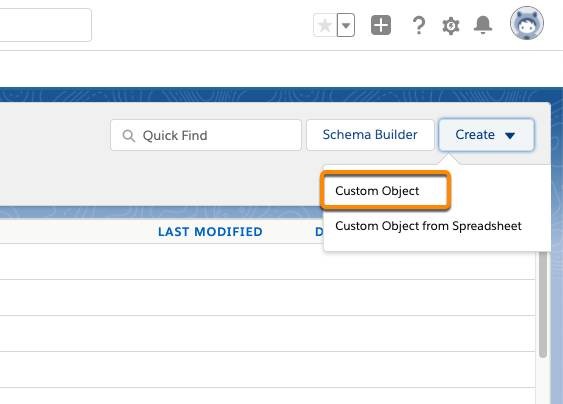 Navigation to create a Custom Object from within the Object Manager.