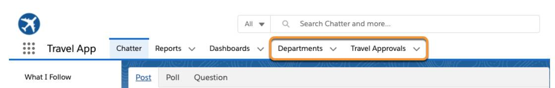 Travel Approval app with Departments and Travel Approvals tabs highlighted.