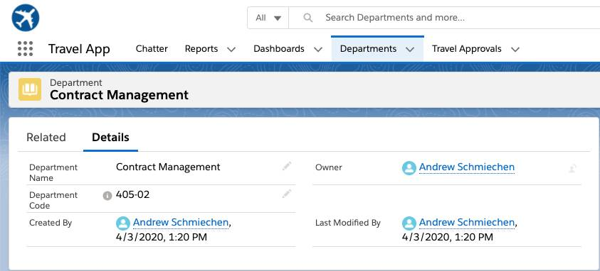 Screen for Contract Management in the Departments tab of the Travel App.