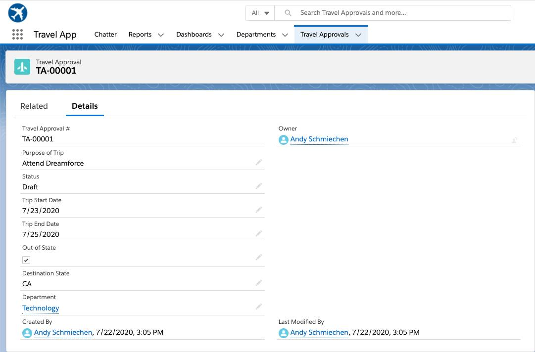 New travel approval record in the Travel Approvals tab of the Travel App.