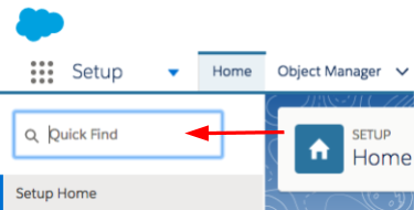 [Setup (設定)] の [Quick Find (クイック検索)] テキストボックスを指す矢印