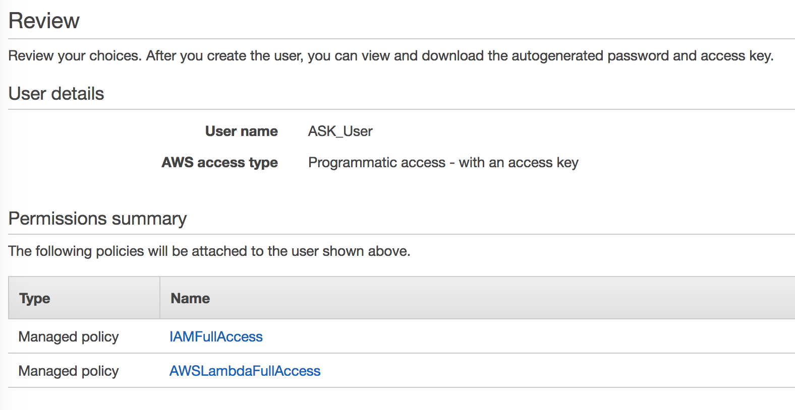 Review page summarizing the user details and permissions summar.y