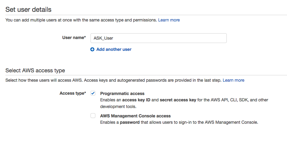 Set user details page for AWS Identity and Access Management.