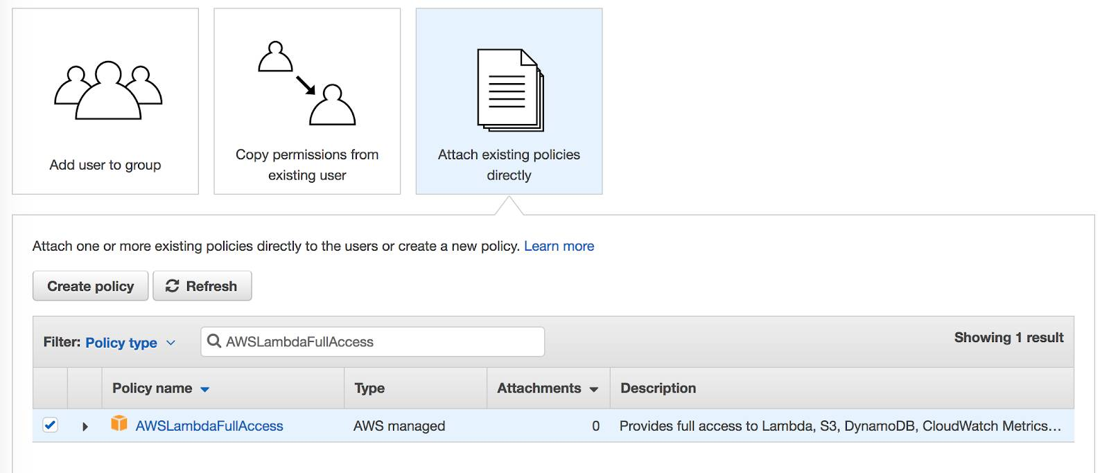 "Screenshot showing the selected option: ""Attach existing policies directly."""