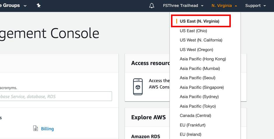 The region dropdown is open in the AWS developer console and US East (N. Virginia) is selected.