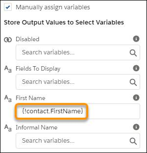 Properties pane, showing the value of the First Name field under Store Output Values