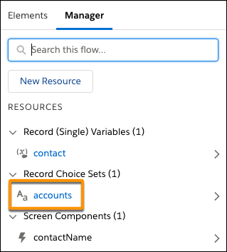 "In the toolbox, the Manager tab contains an ""accounts"" record choice set"