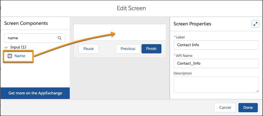 Edit Screen page, showing where to drag the Name input component from the screen components pane to the screen canvas