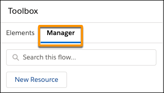 Manager tab location in the toolbox