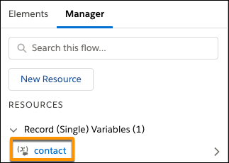 "Manager tab with ""contact"" record variable"