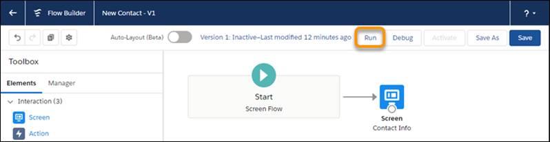 Ubicación del botón Ejecutar en Flow Builder