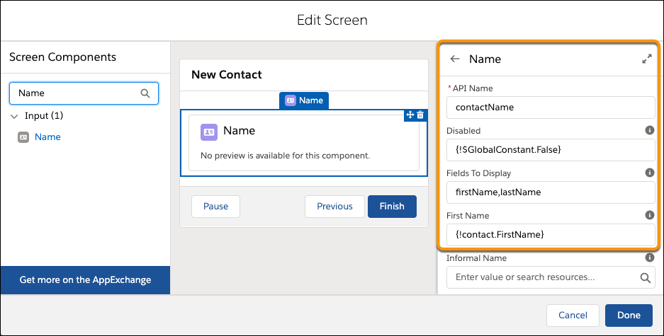 Página Modificar pantalla mostrando el panel de propiedades