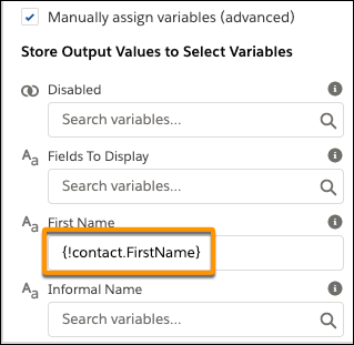Panel de propiedades mostrando el valor del campo Nombre completo bajo Almacenar valores de resultado