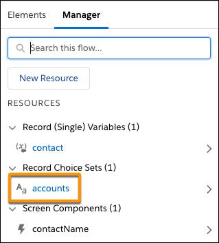 Dans la boîte à outils, l'onglet Manager (Gestionnaire) contient désormais un ensemble de choix d'enregistrement intitulé «accounts» (comptes).