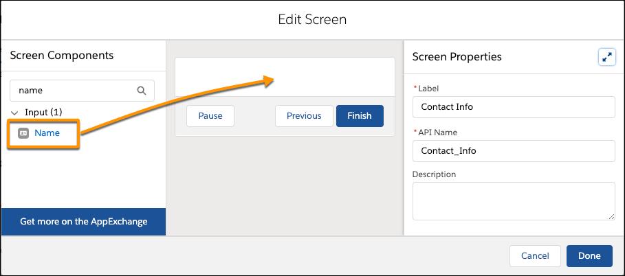 Page Edit Screen (Modifier l'écran), indiquant où faire glisser le composant d'entrée Name (Nom) depuis le volet des composants de l'écran vers la zone de dessin de d'écran