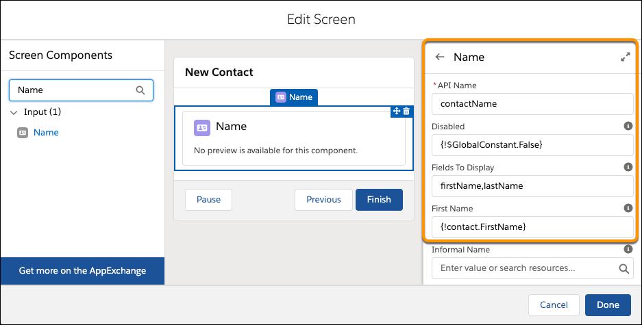 Page Edit Screen (Modifier l'écran), où est visible le volet des propriétés