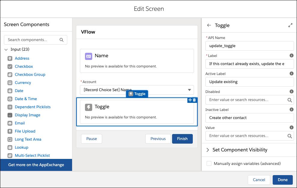 Composant d'entrée Toggle (Commutateur) sur la zone de dessin de l'écran