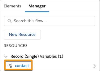 Onglet Manager (Gestionnaire) avec la variable d'enregistrement «contact»