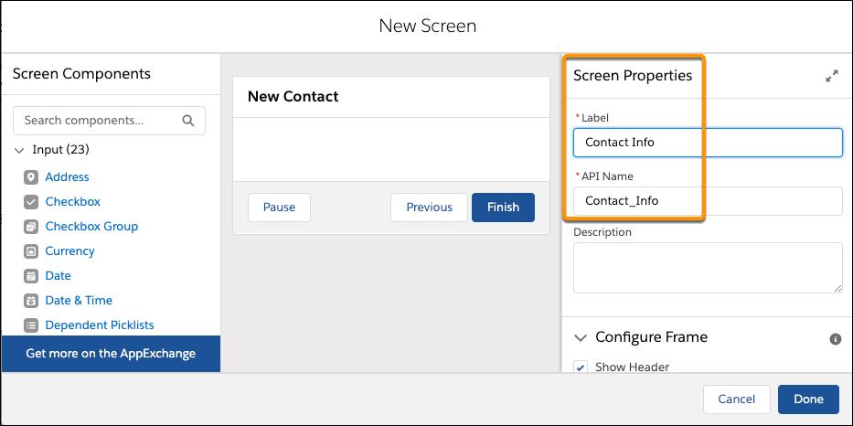 Champs Label (Étiquette) et API Name (Nom d'API) sous Screen Properties (Propriétés de l'écran)