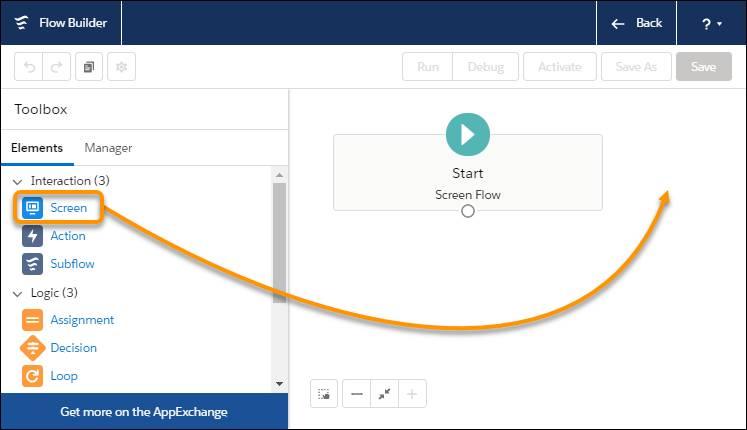 Interface de FlowBuilder, montrant où faire glisser l'élément Screen (Écran) de la boîte à outils vers la zone de dessin.