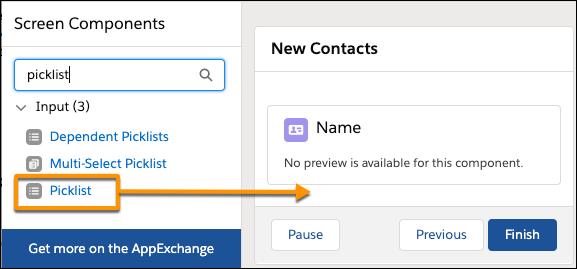 Página Edit Screen (Editar tela) mostrando para onde arrastar o componente de entrada Picklist (Lista de opções) desde o painel de componentes de tela até a tela