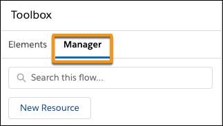 Localização da guia Manager (Gerenciador) na caixa de ferramentas