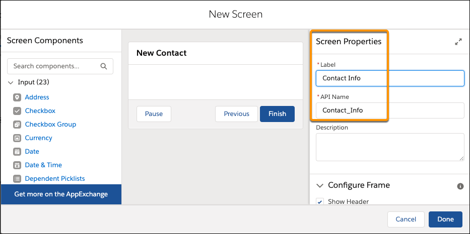 Campos de nome da API e rótulo em Screen Properties (Propriedades da tela)