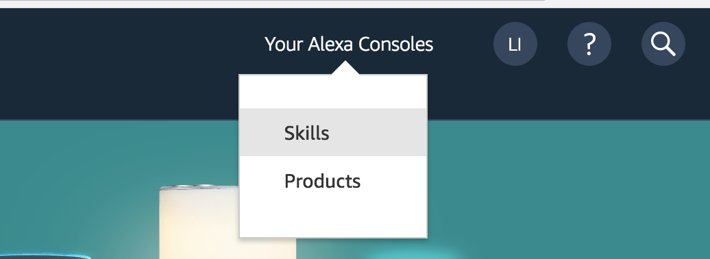 Your Alexa Consoles menu with the Skills option highlighted