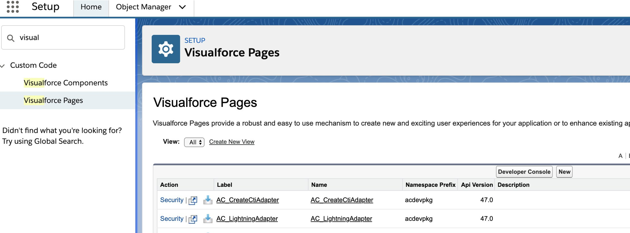 Visualforce Pages in Setup