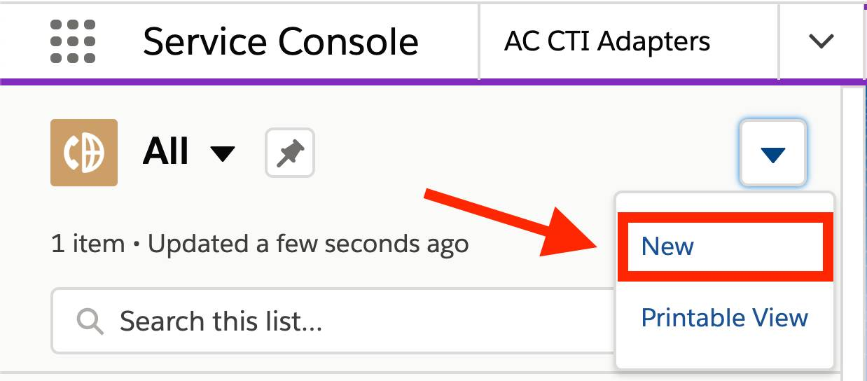 AC CTI Adapters selected in Service Console navigation, All selected in list view, the disclosure triangle clicked, and New highlighted with a red box and arrow
