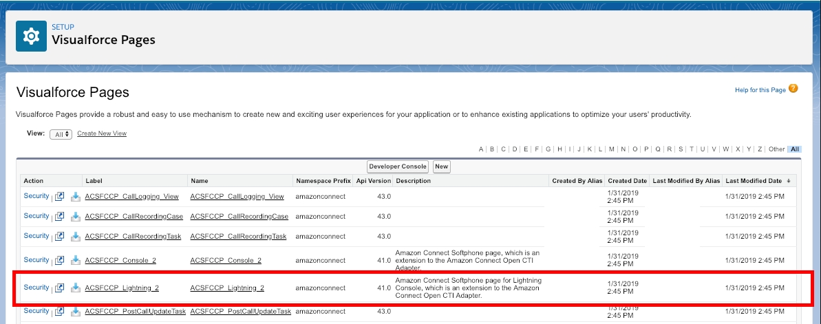 Visualforce Pages in Setup with ACSFCCP_Lighting_2 highlighted with a red box.