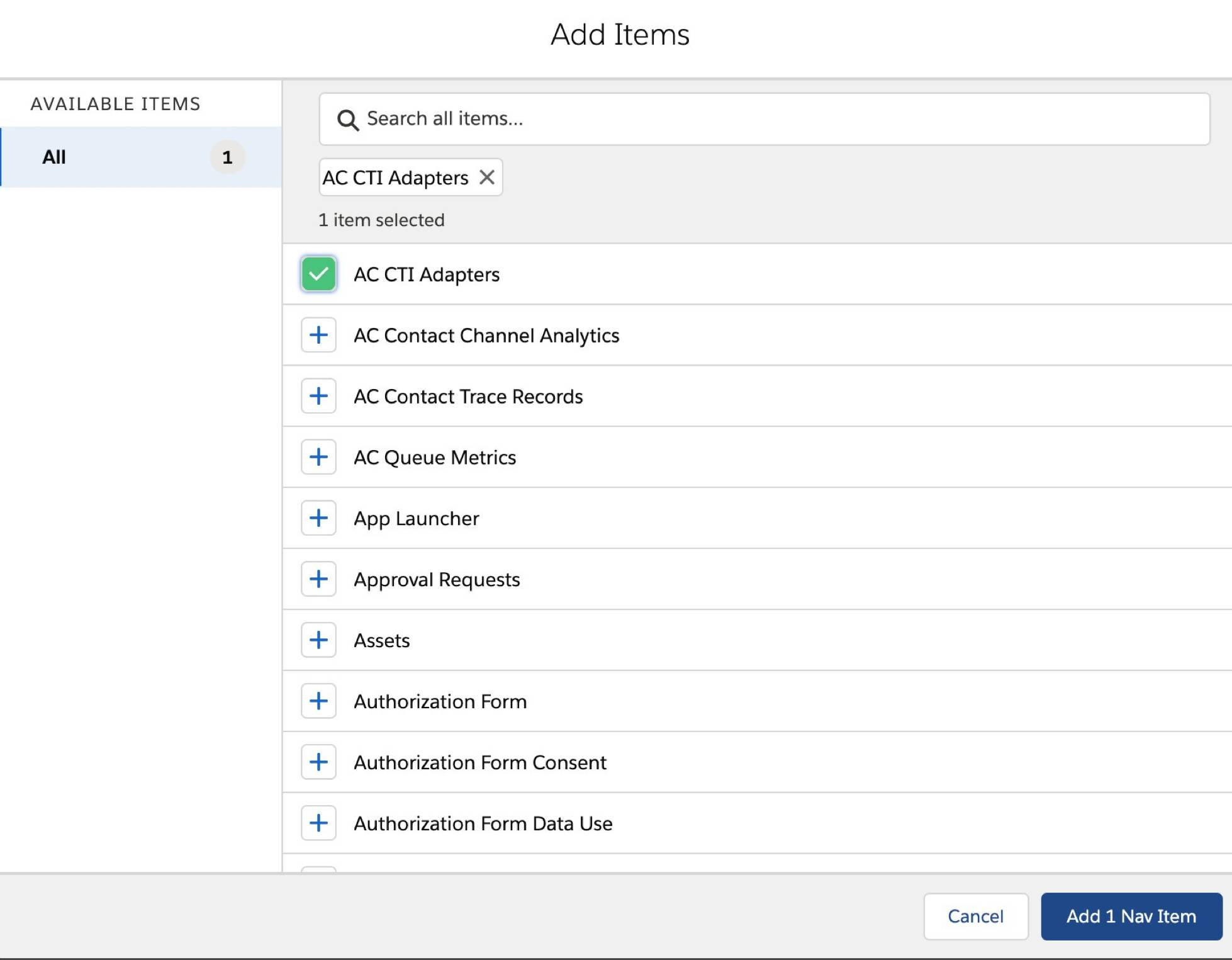 AC CTI Adapters selected in Add Items screen