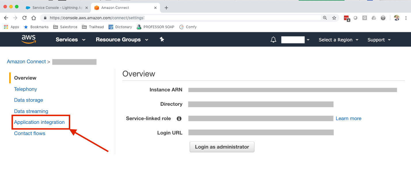 Amazon Connect Instance screen with Application integration link highlighted with a red box and arrow.