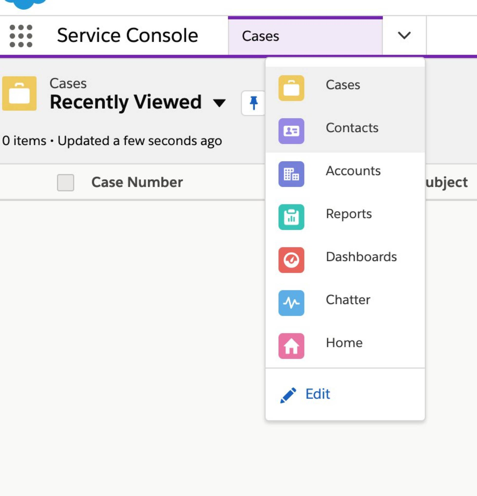 The navigation dropdown open in Service Console