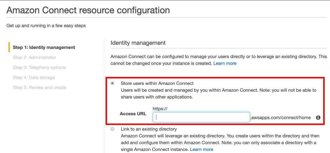 Amazon Connect resource configuration screen with a red box highlighting the Store users within Amazon Connect option.