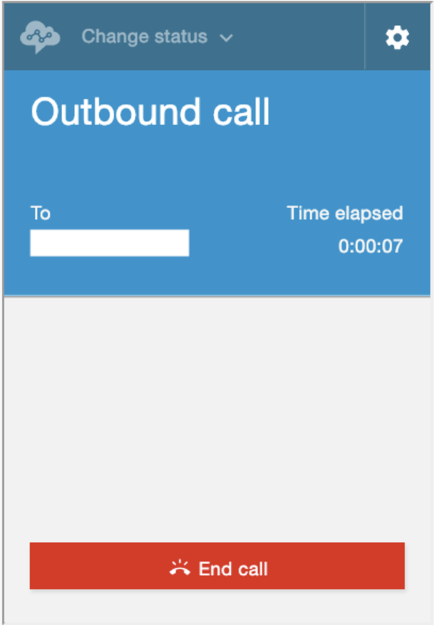 "Screenshot: Contact Control Panel with ""Outbound call"" showing."