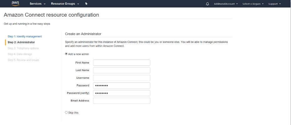 Screenshot: Amazon Connect resource configuration screen.