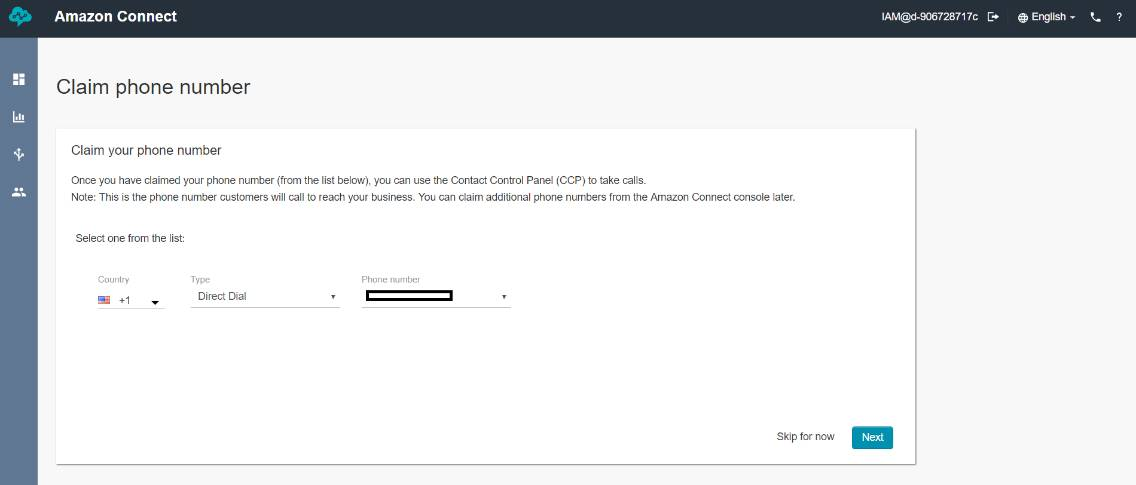 "Screenshot: Amazon Connect ""claim phone number"" screen."