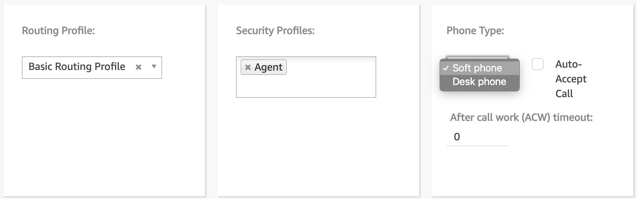 The Add user details section with Basic Routing Profile, Agent, and Soft phone selected