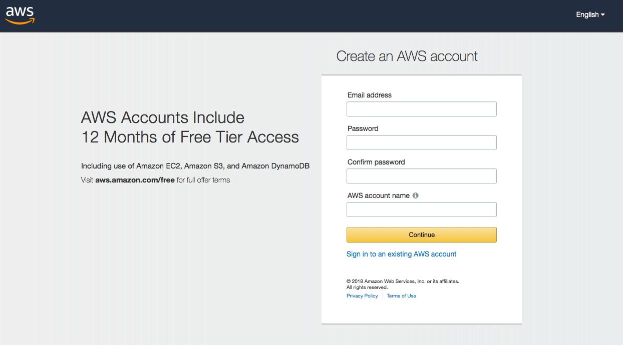 Screenshot: AWS sign-up screen.