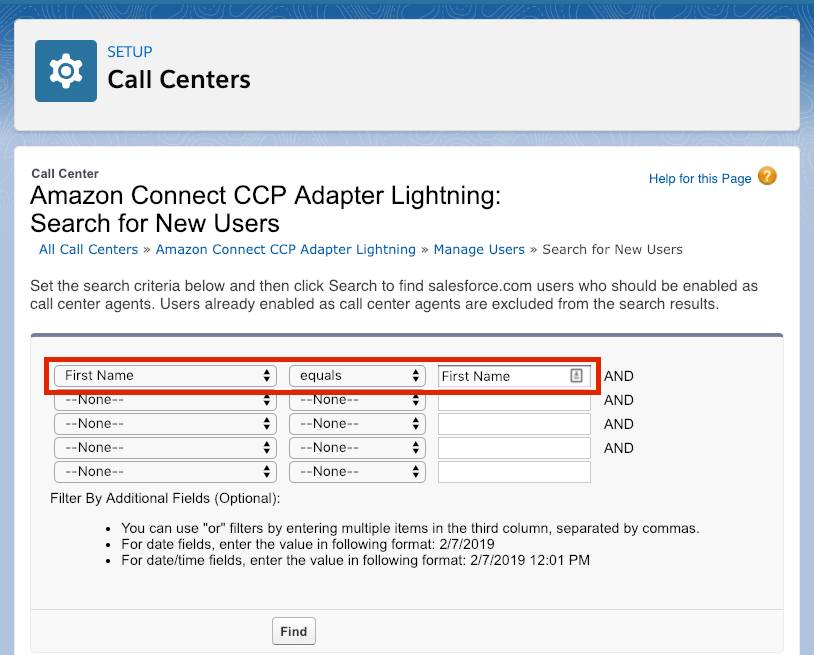 Call Center Search for New Users screen with First Name equals First Name highlighted with a red box.