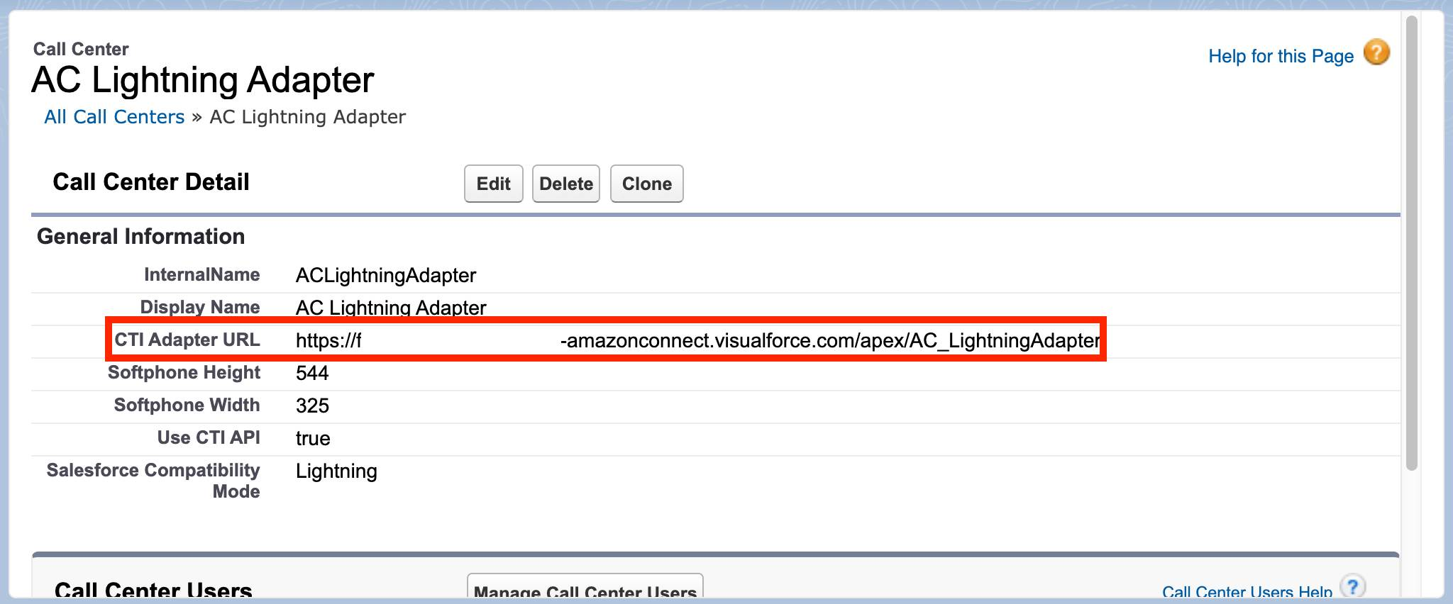 AC Lightning Adapter Call Center page in Setup with CTI Adapter URL field highlighted with a red box