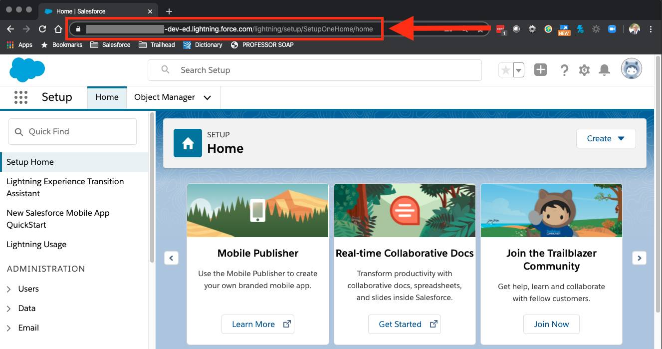 Trailhead Playground Setup page with URL highlighted by a red box and arrow