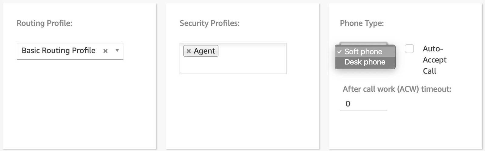 user profile with Basic Routing Profile, Agent, and Soft phone selected