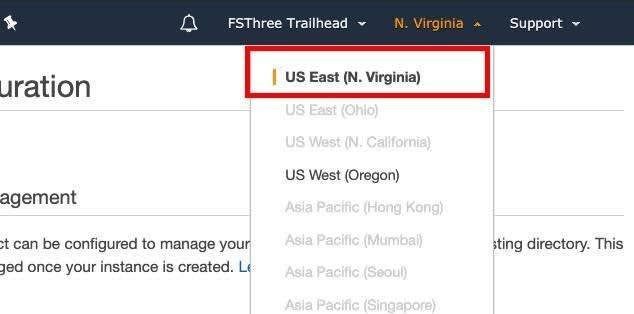 US East (N. Virginia) selected in the region dropdown at the top of the AWS console highlighted by a red box