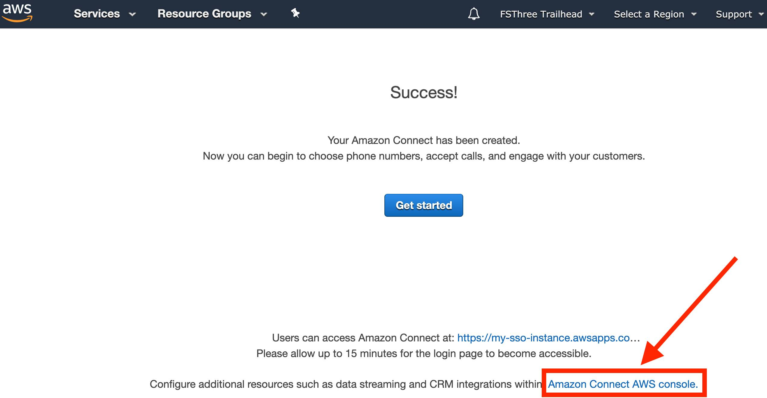 Amazon Connect instance creation success screen, with the link back to the Amazon Connect AWS console highlighted at the bottom with a red box and arrow