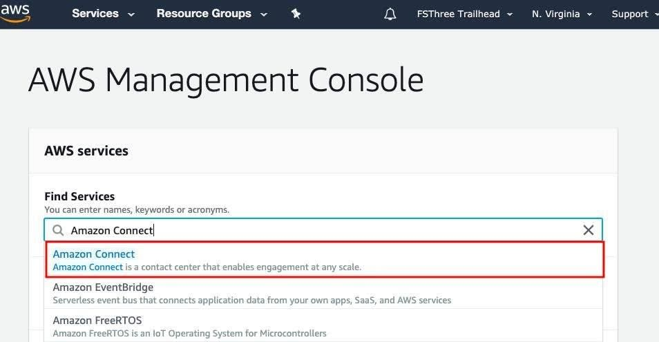 AWS Management Console with Amazon Connect in Find Services Search, with Amazon Connect option highlighted in a red box